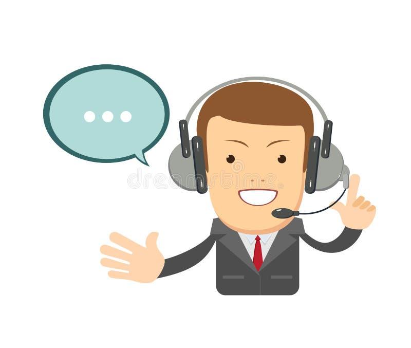 Le den manliga operatören med hörlurar med mikrofon som arbetar på appellmitten Grungebakgrund för dina publikationer royaltyfri illustrationer