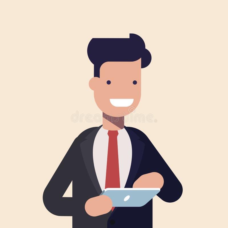 Le den moderna affärsmannen genom att använda minnestavlan Tecken i affärsdräkt genom att använda mobila enheten Plan tecknad fil royaltyfri illustrationer