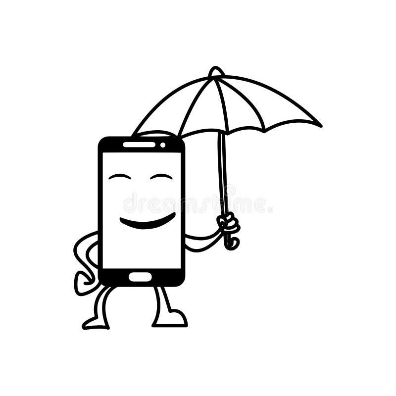 Le den smarta telefonen rym linjen för svart för paraplyvektorillustrationen royaltyfri illustrationer