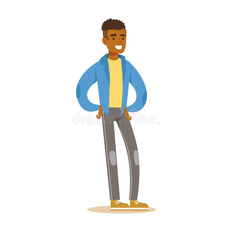 Le den tillfälliga unga afrikanska mannen i anseende för blått omslag Färgrik illustration för vektor för tecknad filmtecken vektor illustrationer