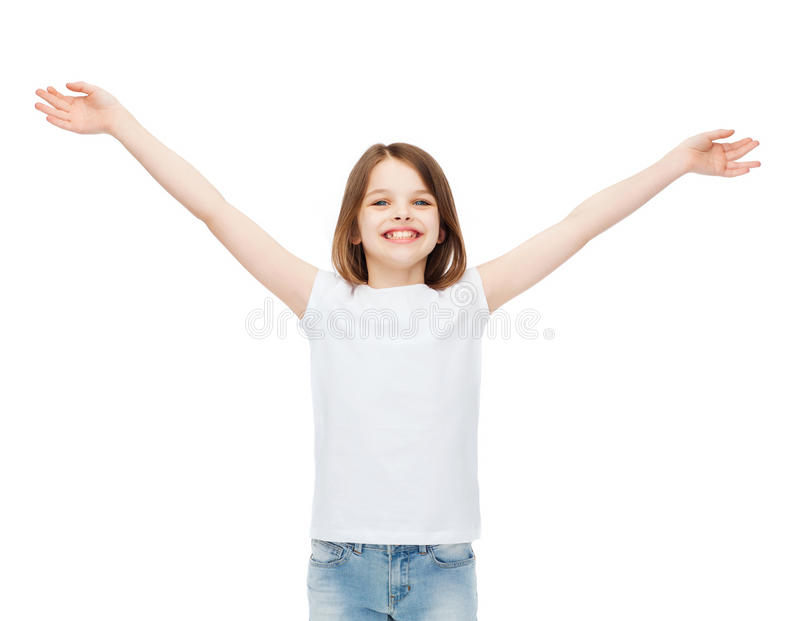 Le den tonårs- flickan med lyftta händer royaltyfri foto