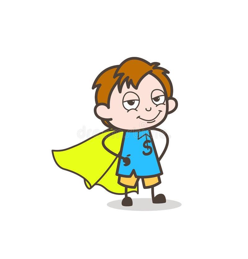 Le den toppna mindre pojken - gullig tecknad filmungevektor royaltyfri illustrationer