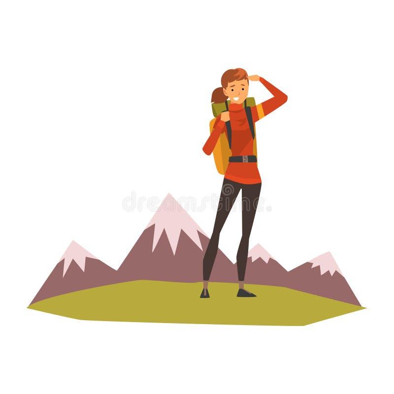 Le den unga kvinnan med ryggsäcken, sommarberglandskapet, utomhus- affärsföretag, lopp, campa vandra tur eller royaltyfri illustrationer