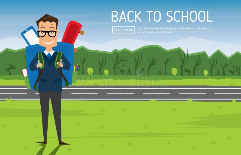 Le den unga skolapojken i likformig med blåttryggsäcken royaltyfri illustrationer