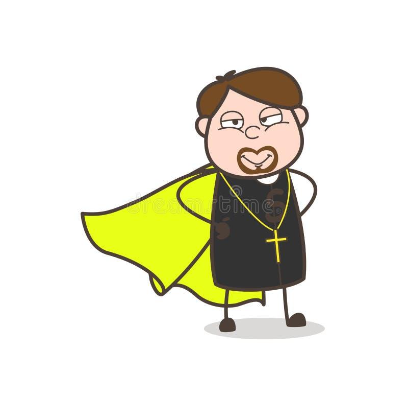 Le denhjälte prästen Character Vector vektor illustrationer