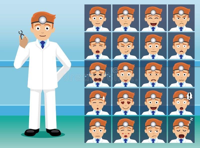 Le dentiste Cartoon Character Emotion d'hôpital fait face illustration de vecteur