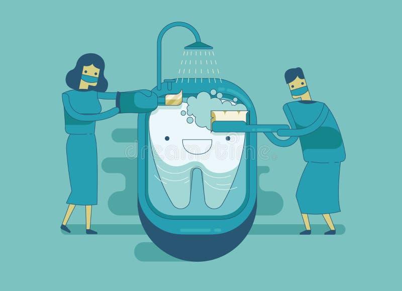 Le dentiste nettoient la dent, concept dentaire illustration libre de droits