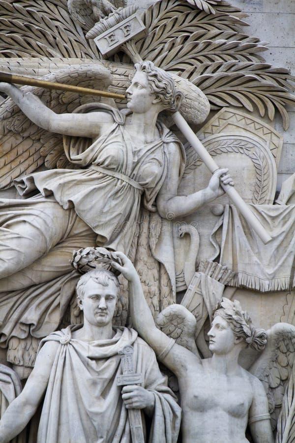 Le Depart de 1792 (La Marseillaise). View of the Le Depart de 1792 (La Marseillaise), in the Arc of Triumph in Paris, France stock image