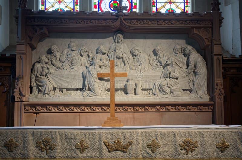 Le dernier d?ner Sculpture en soulagement d'autel Croix en bois photo stock