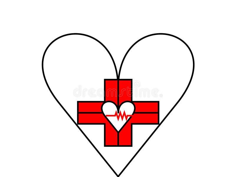 Le dernier logo de soins de santé de style illustration stock