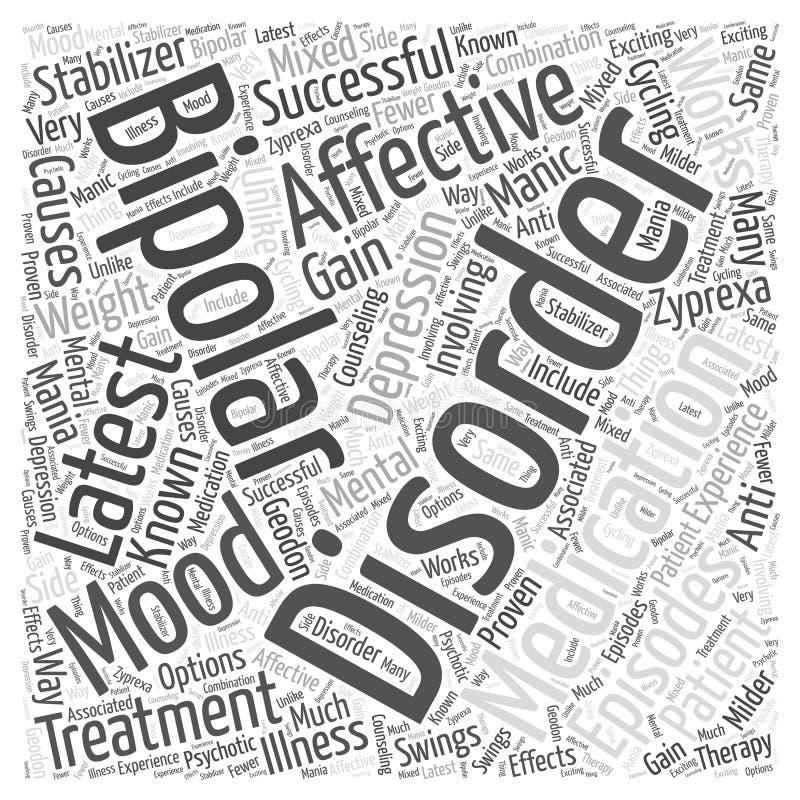 Le dernier médicament pour le concept bipolaire de nuage de mot de troubles affectifs illustration libre de droits