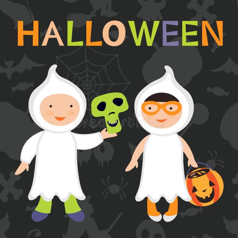 Le des bonbons ou un sort badine l'illustration Garçon et fille dans des costumes de fantôme illustration stock