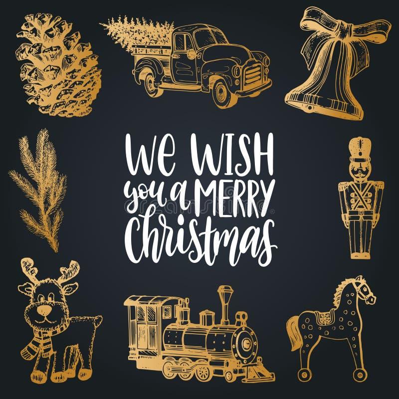 Le deseamos letras de la Feliz Navidad con los ejemplos dibujados mano de los juguetes de la natividad Tipografía del vector buen ilustración del vector