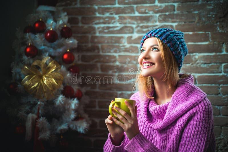 Le deseamos un feliz árbol de navidad La Navidad del partido, la muchacha de la Noche Vieja Feliz Navidad y Feliz Año Nuevo imagenes de archivo