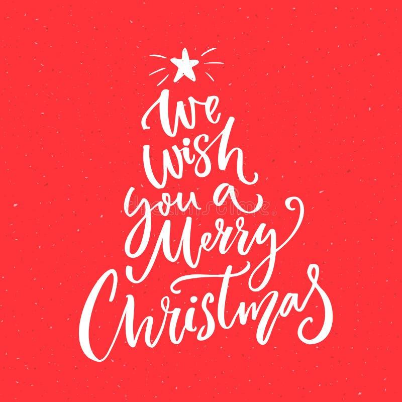 Le deseamos un texto de la Feliz Navidad Texto de la caligrafía para las tarjetas de felicitación libre illustration