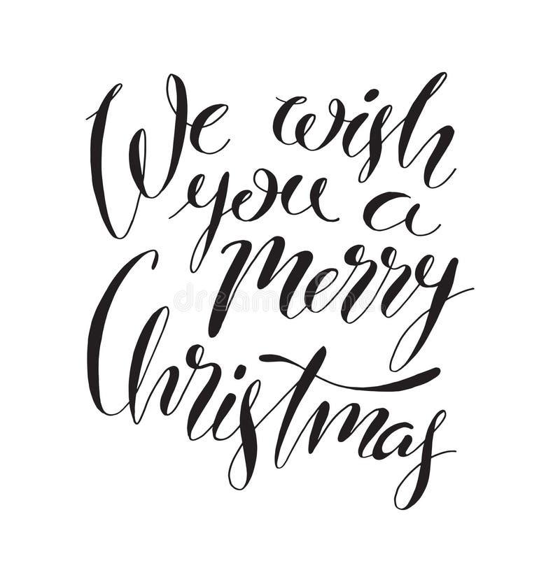 Le deseamos una Feliz Navidad, letras manuscritas Inscripción del vector stock de ilustración