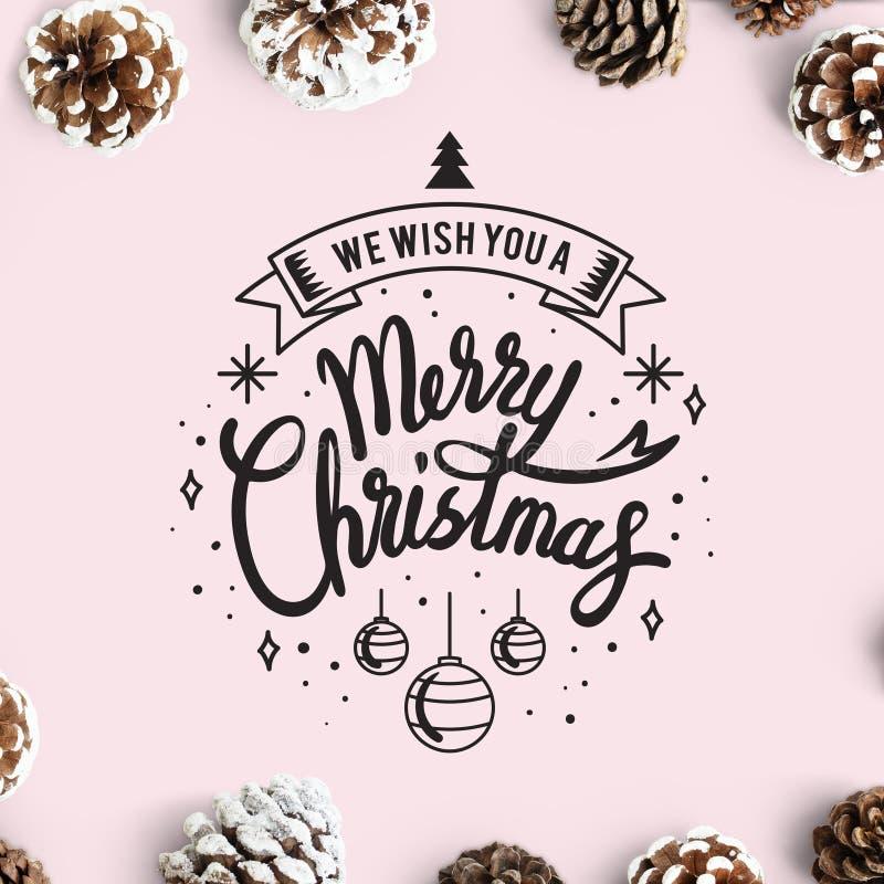 Le deseamos una maqueta de la tarjeta de la Feliz Navidad imágenes de archivo libres de regalías