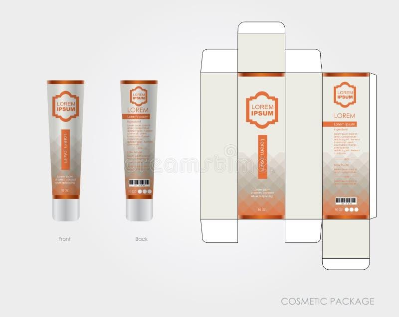 Le design d'emballage cosmétique orange incluent la boîte et la bouteille illustration stock