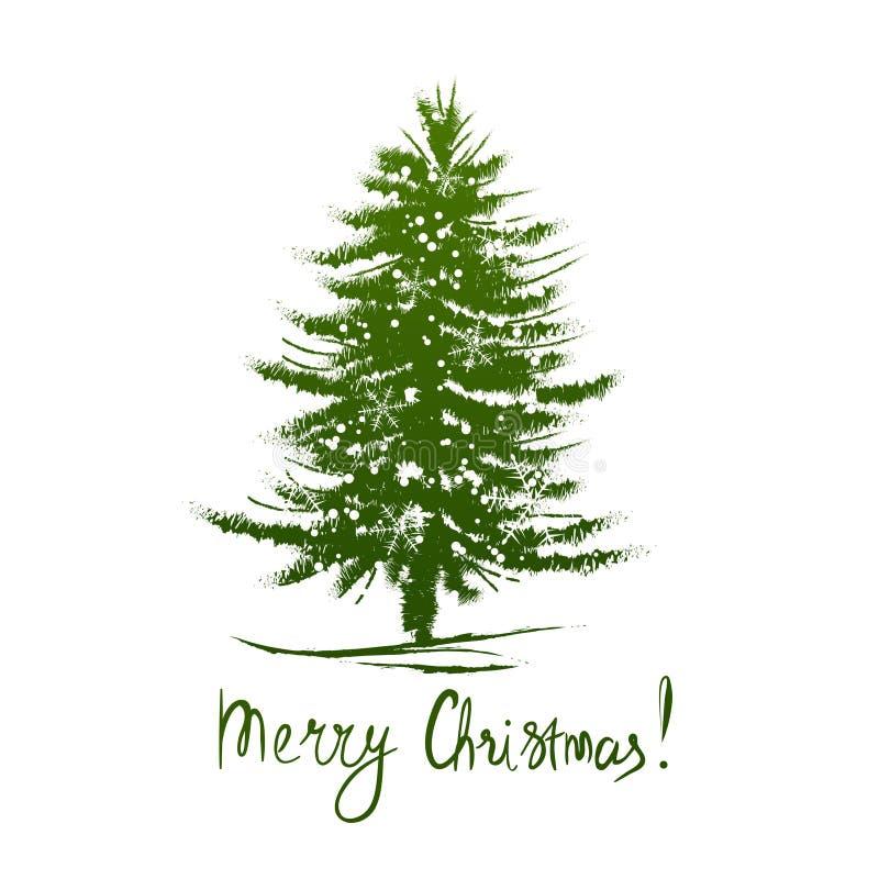 Le design de carte avec un arbre de Noël tiré par la main et le Joyeux Noël textotent illustration libre de droits