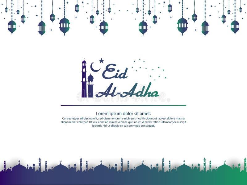 Le design de carte islamique de salutation d'Eid al Adha Mubarak avec la mosquée de dôme et l'élément accrochant de lanterne en p illustration de vecteur