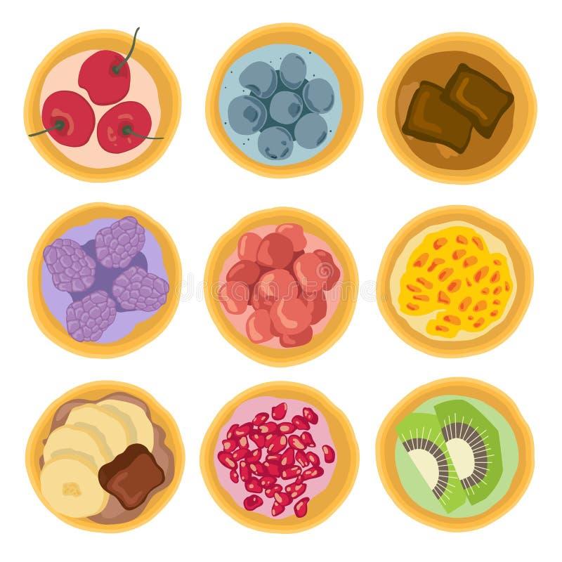 Le dessert doux durcit des fruits image stock