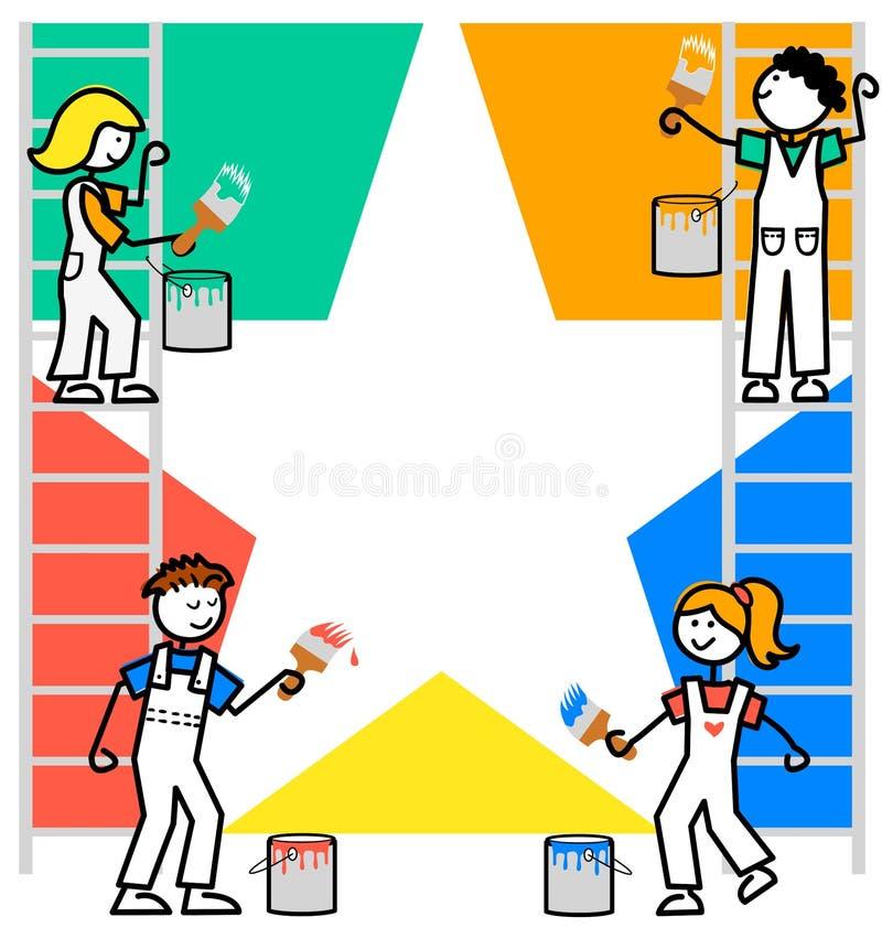 Le dessin animé badine le fond de travail d'équipe/ENV illustration libre de droits