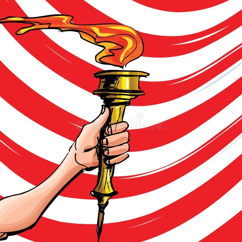 Le dessin animé d'une torche olympique a retenu la haute illustration de vecteur