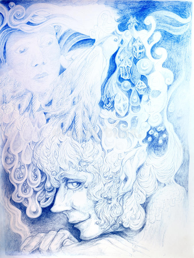 Le dessin détaillé ornemental de elven la tête d'homme illustration libre de droits