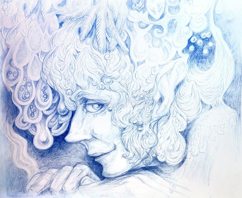Le dessin détaillé ornemental de elven la tête d'homme illustration stock