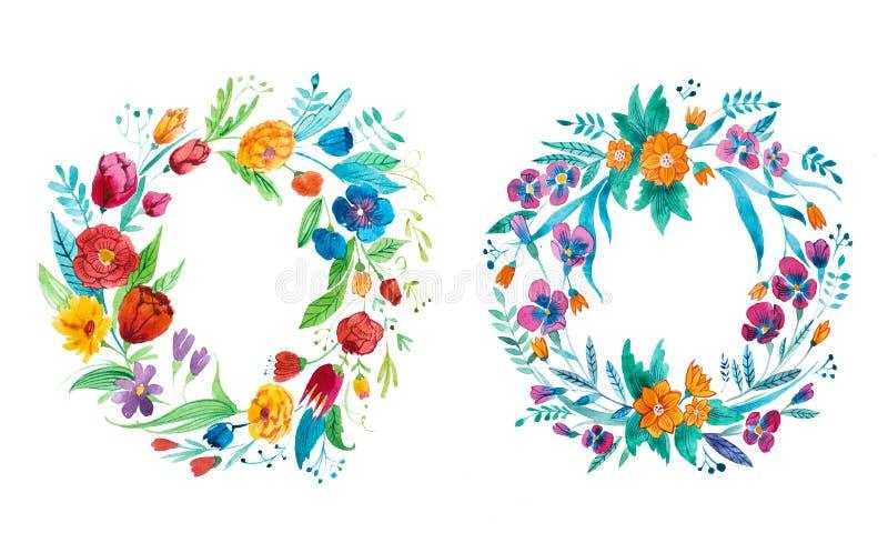 Le dessin d'aquarelle de la couronne rustique lumineuse du jardin fleurit tiré par la main illustration libre de droits