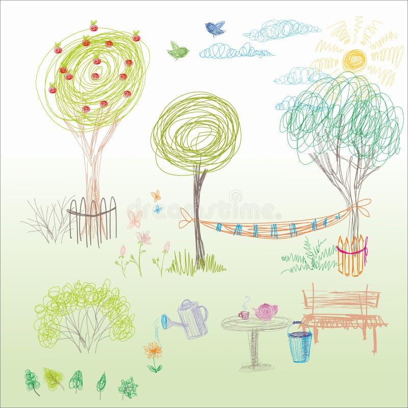 Le dessin d'un enfant dans le vecteur Jardin d'été avec un hamac, un Ben illustration stock