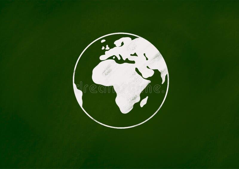 Le dessin de craie de la terre sur le tableau vert illustration libre de droits