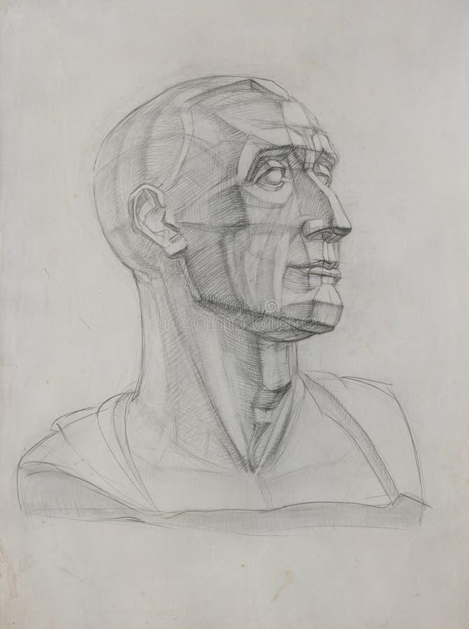 Le dessin de l'étudiant du vieux papier du chef romain Niccolo da Uzzano illustration stock