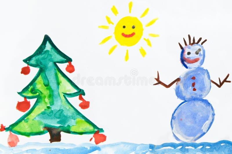 Le dessin de l'enfant avec le bonhomme de neige photographie stock