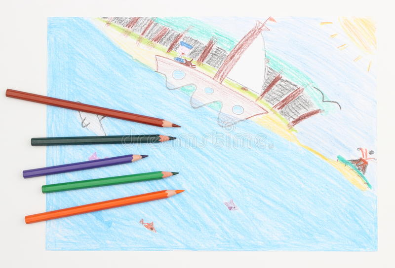 Le dessin de l 39 enfant color d 39 un bateau en mer et des - Dessin d un bateau ...