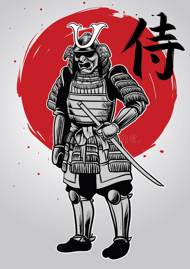 Le dessin de main du guerrier samouraï avec le mot samouraï écrit dans le kanj illustration stock