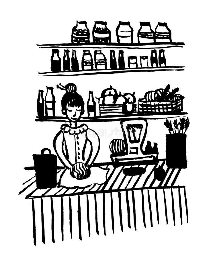 Le dessin de photo d'une jeune fille dans une robe démodée dans des légumes d'un emballage d'épicerie esquissent l'illustration t illustration stock