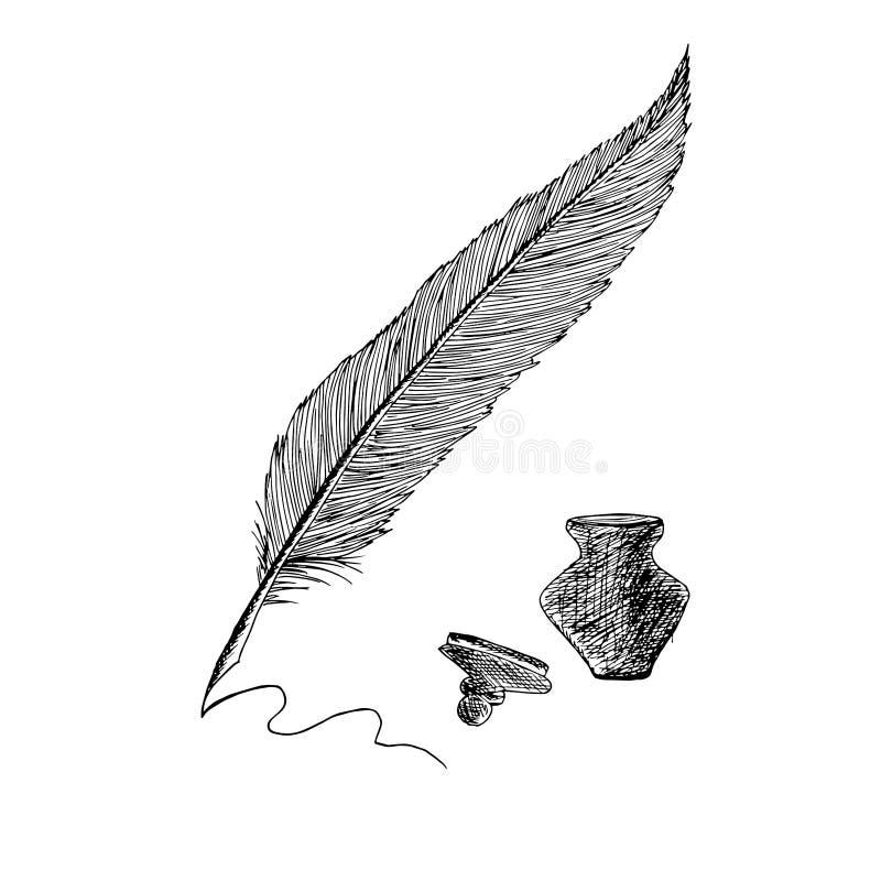 Le dessin de stylo et d'encrier encastré de plume objectent l'illustration d'isolement de vecteur d'actions d'élément de concepti illustration libre de droits
