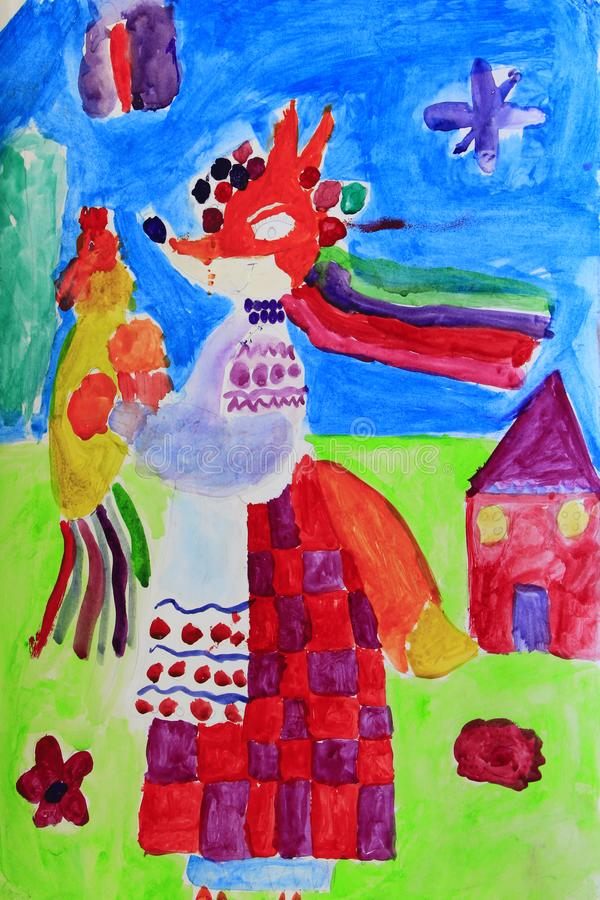 Le dessin des enfants avec le renard fabuleux avec dans l'habillement Illustration avec le dessin photo libre de droits