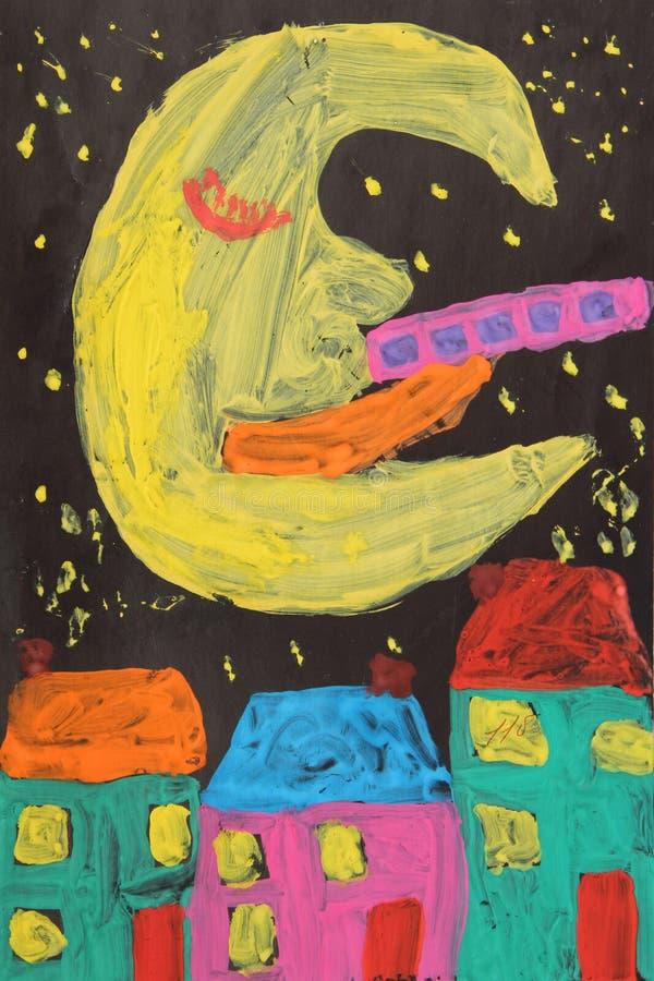Le dessin des enfants de la lune sur le ciel foncé au-dessus des maisons de ville photo libre de droits