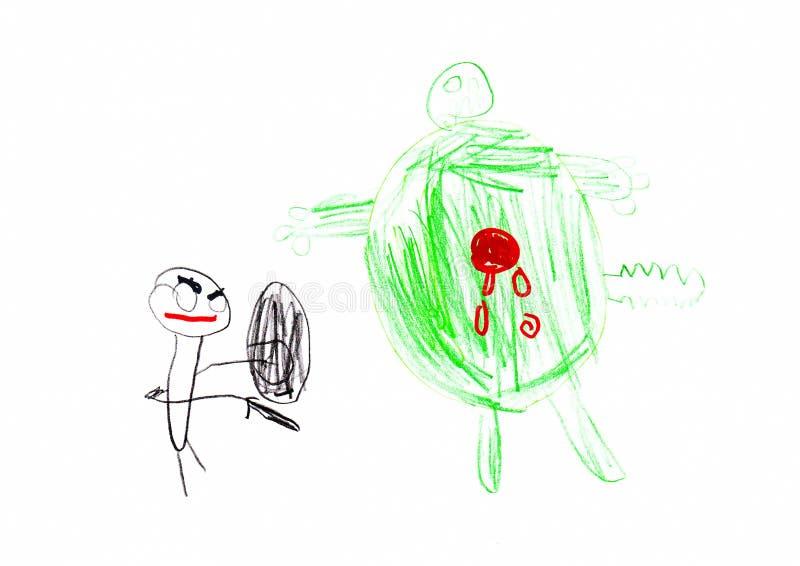 Le dessin des enfants de super héros et de monstre illustration de vecteur