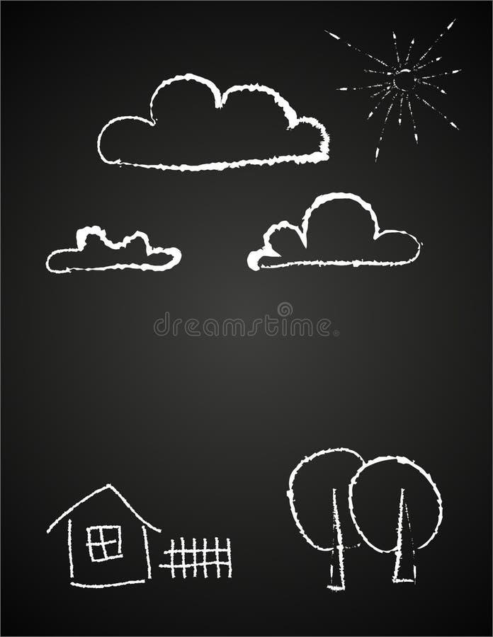 Le dessin des enfants des nuages dans la craie illustration libre de droits