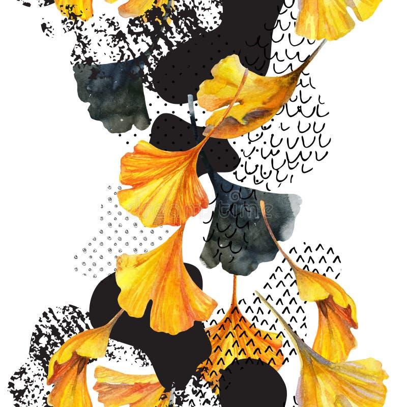 Le dessin du ginkgo part, griffonnage d'encre, grunge, textures de papier de couleur d'eau illustration libre de droits