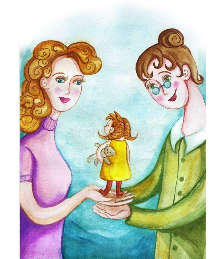 Le dessin du ` s d'enfants d'aquarelle de la mère et de l'infirmière, mère transmet l'adon du ` s d'enfant, bébé, confiances de m illustration libre de droits