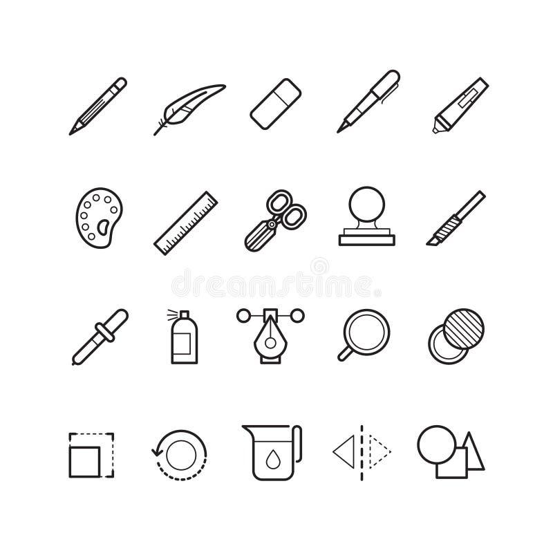 Le dessin, ligne icônes de vecteur d'outils de conception d'éditeur de texte a placé pour l'ui APP de Web illustration libre de droits