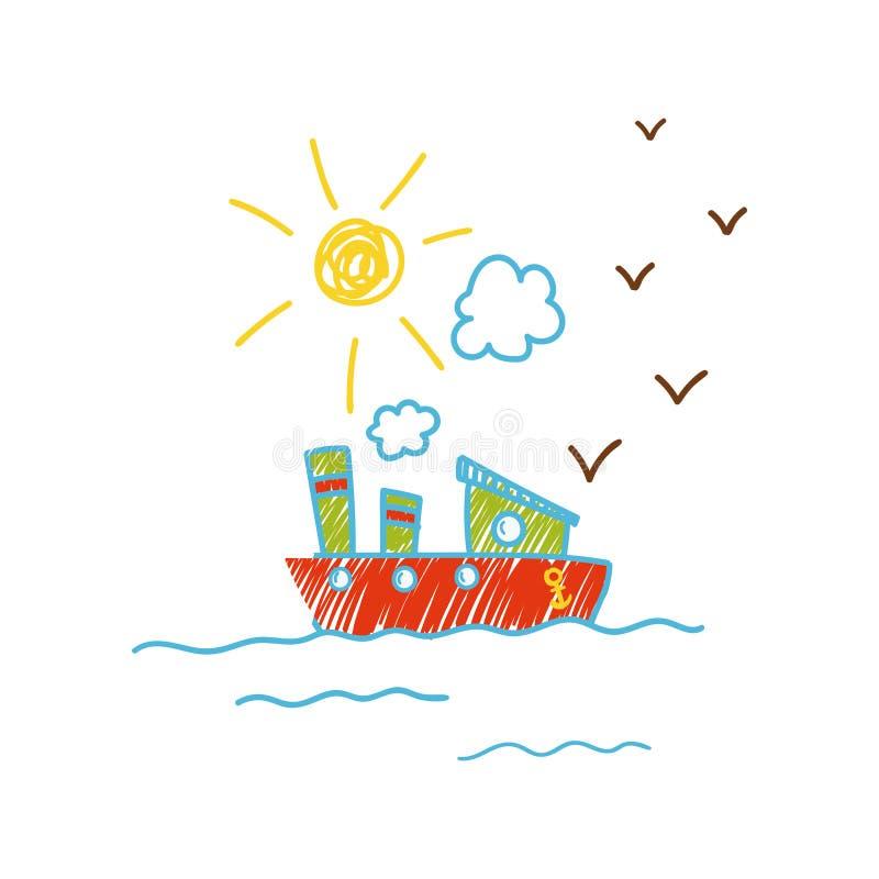 Le dessin puéril du bateau dans l'illustration de vecteur de mer peut être employé pour l'affiche, carte de voeux, bannière, labe illustration stock