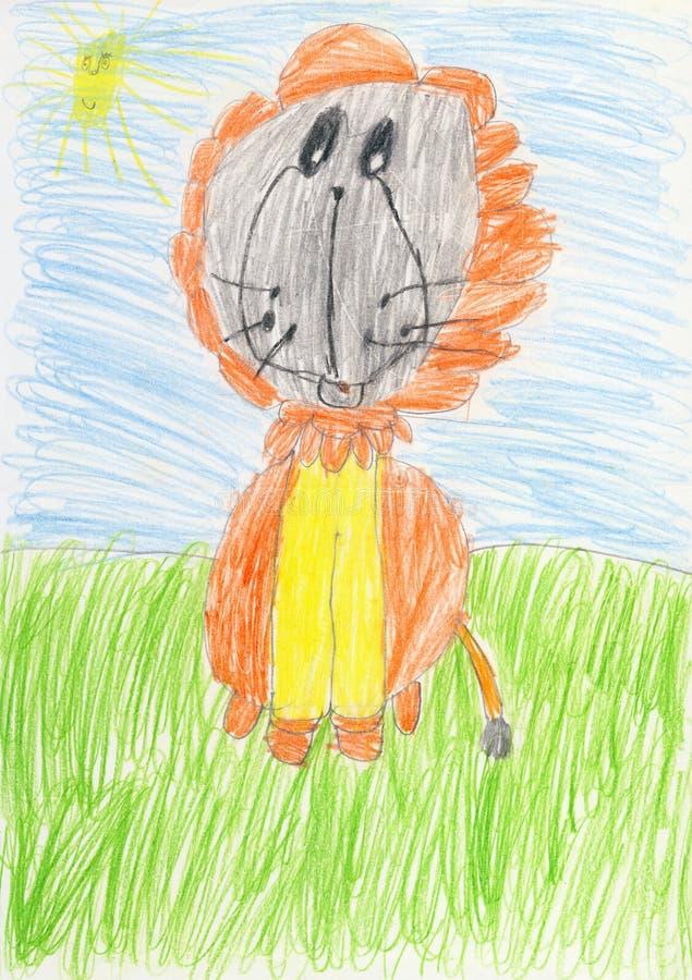 Le dessin sur un livre blanc a effectué l'enfant - lion illustration libre de droits