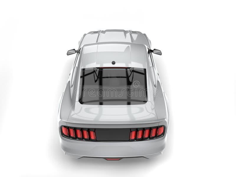 Le dessus automobile de muscle urbain argenté superbe soutiennent vers le bas la vue illustration libre de droits
