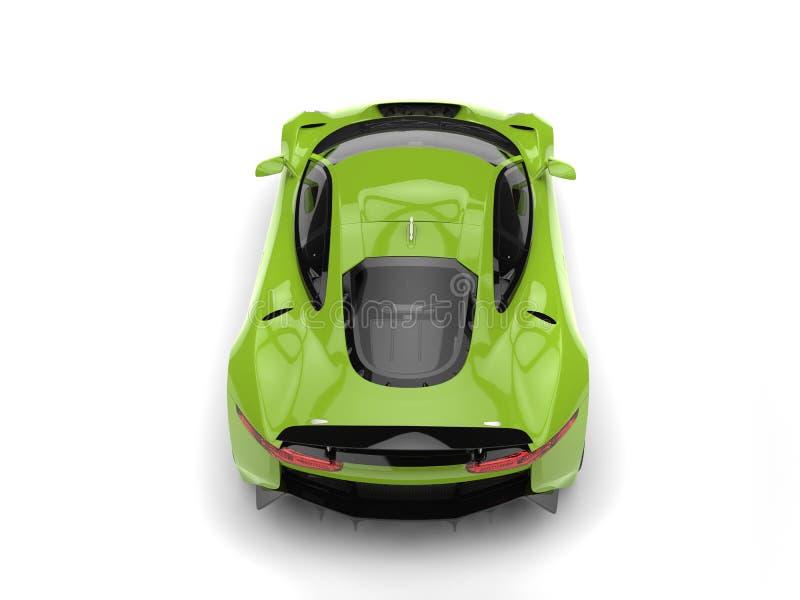 Le dessus automobile de sports modernes verts frais soutiennent vers le bas la vue illustration de vecteur