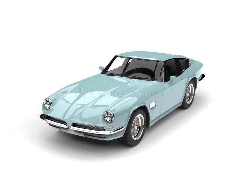 Le dessus automobile rapide de vintage bleu-clair regardent vers le bas illustration libre de droits
